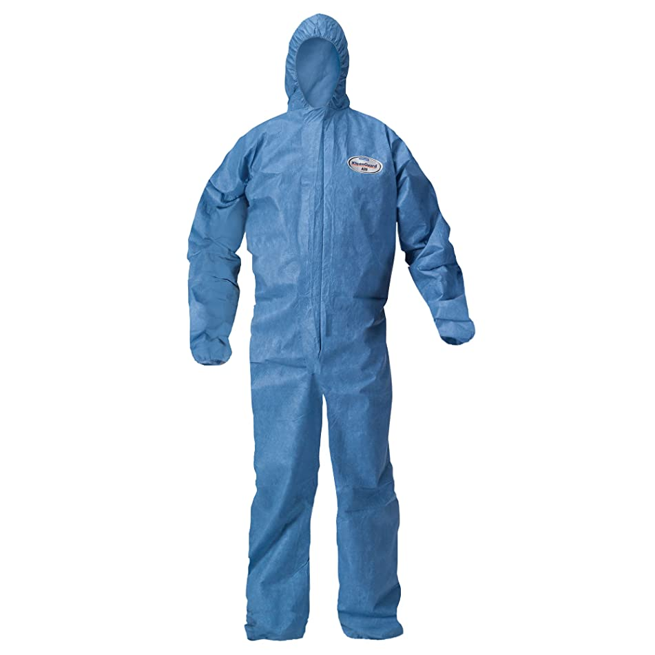 Kleenguard A20 Breathable Particle Protection Hooded Coveralls (58517), REFLEX Design, Zip Front, Elastic Wrists & Ankles, Blue Denim, 4XL, 20 / Case