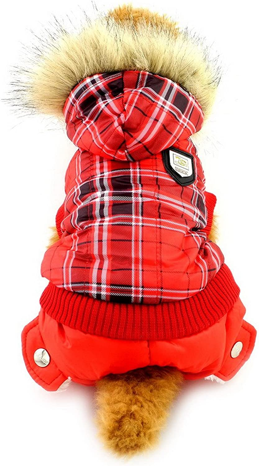 SELMAI Red Plaid Dog Coat Warm Small Pet Clothes Hooded Dog Jumpsuit Puppy Outfits M