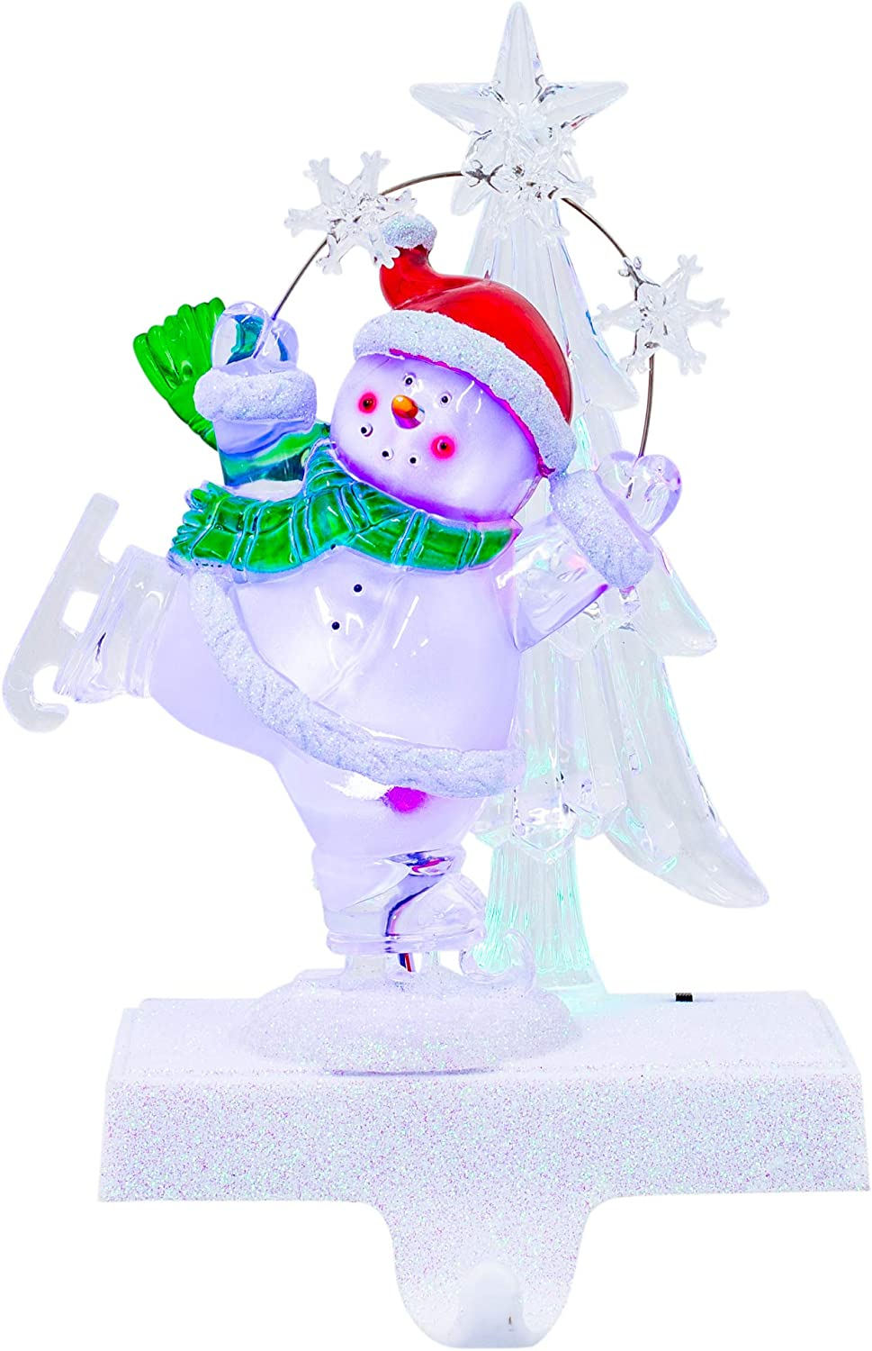 LED Skating Tucson Mall Snowman Winter White 9 Acrylic Super Special SALE held Stocking x 6 Holiday