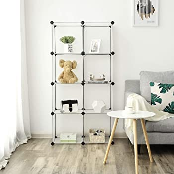 House of Quirk DIY 8-Cube Bookcase Media Storage Standing Shelf Storage Cabinet - (Transparent White)