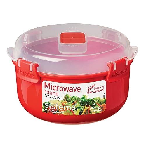 Abeba SI1113 Boîte à Micro-Ondes Ronde 915ml en Rouge, Plastique, 45x35x25 cm