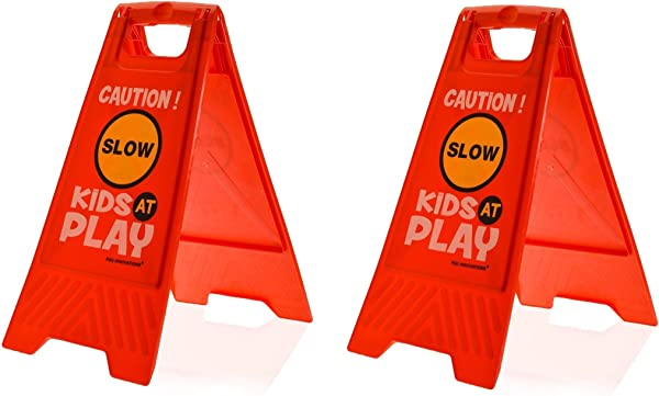 Essentially Yours 2 Pack Kids Playing Safety Floor Sign For Yards And Driveways Double Sided Red Caution Slow Kids At Play