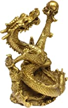 Chinese Fengshui Handmade Brass Dragon Statue Golden Wealth Figurine Home Decor Gift..