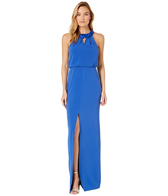 Halston  Satin Neck Crepe Gown with Keyhole (Ultramarine) Womens Dress