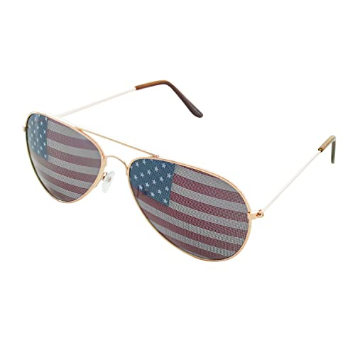 f6db4b067b8a Super Z Outlet American USA Flag Design Metal Frame Aviator Unisex  Sunglasses with Print Patterned Lens