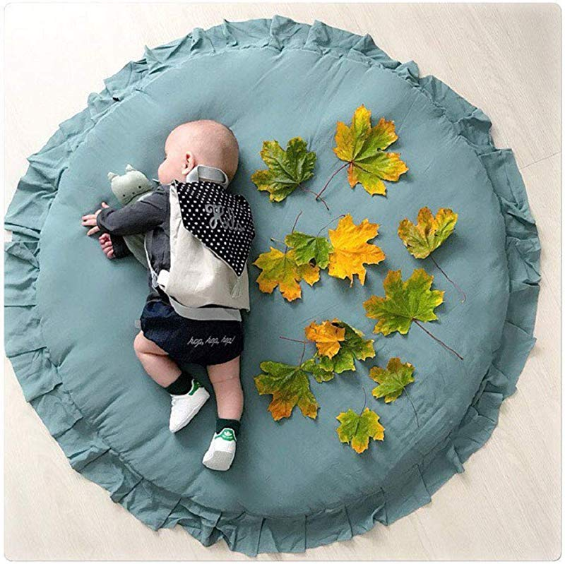 Dulcii Kids Rugs Round Lace Soft Baby Floor Play Mat Area Rug For Boys And Girls Bedroom And Playroom Home Decor Carpet Large Nursery Mat Diameter 100cm 40Inch Green