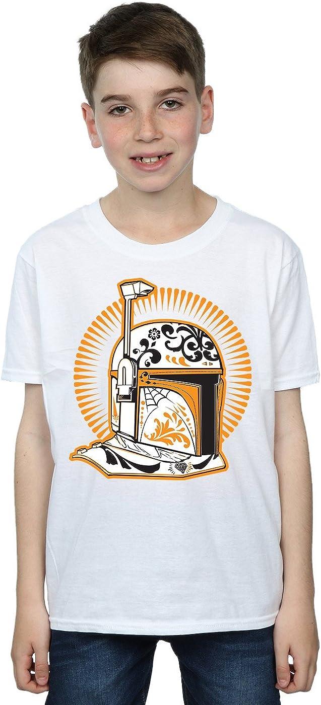 STAR WARS Boys Boba Fett Dia De Los Muertos T-Shirt 5-6 Years White