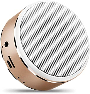 Metal Bluetooth Speaker Portable Card Speaker Mini Wireless Subwoofer Stereo Outdoor Bluetooth Speaker for Mobile Laptop,Gold