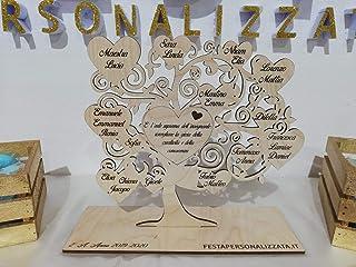 Albero della vita in legno di Betulla personalizzabile con nomi e frase/dedica centrale 25x25cm circa spessore 3mm con bas...