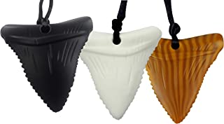 Mommy's Touch 3-Pack Shark Tooth Silicone Chew - Gender Neutral Teething Necklace for Children - Oral Sensory Chewy Teether Necklaces for Autistic Chewers - Chewelry for Boys and Girls