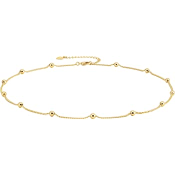 18k Gold Paperclip Chain Choker Satellite Chain Lava Bead Pendant Necklace Dainty Jewelry for Women 16''