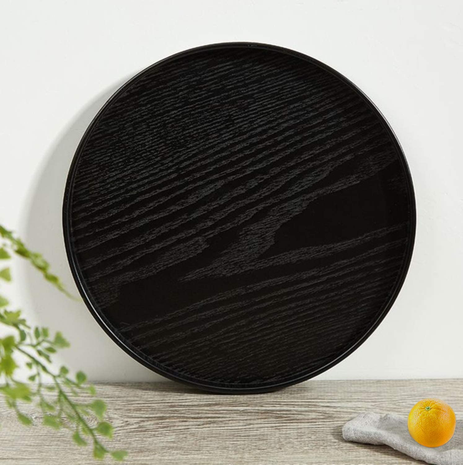 Solid Wood Serving Tray, Round Non-Slip Tea Coffee Snack Plate, Food Meals Serving Tray with Raised Edges, for Home Kitchen Restaurant (8.2inch, Black)