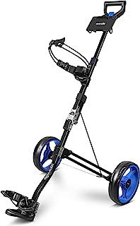 SereneLife 2 Wheel Golf Push Cart - Lightweight Folding Walking Push Cart Roller Golf Bag Holder w/Foot Brake, Upper/Lower...