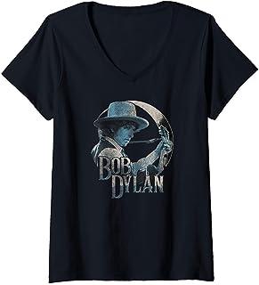 Femme Bob Dylan - Guitar 1975 T-Shirt avec Col en V