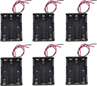 WAYLLSHINE 6PCS 3 x 1.5V AA Battery Spring Clip Black Plastic 3 x 1.5V AA Battery Case Holder Box Black Red Wire Leads