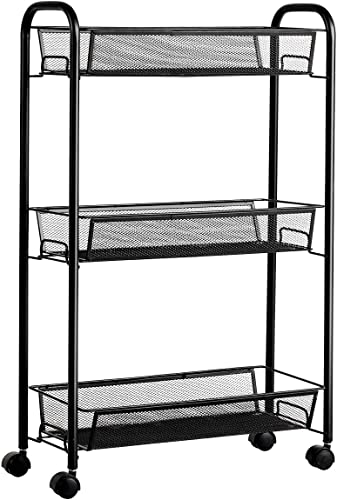 2021 Giantex 3-Tier Mesh Rolling Cart on Wheels, Utility discount Cart, new arrival Mobile Organizer Multifunctional Storage Cart with 3 Wire Baskets for Home and Office (Black) online