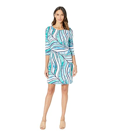 Tommy Bahama Batiki Tiki 3/4 Sleeve Dress (Deep Sea Teal) Women