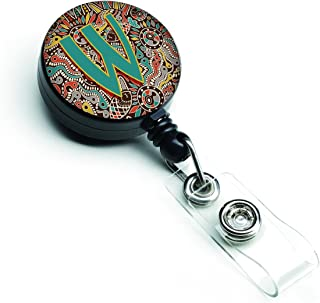 Caroline's Treasures Letter W Retro Tribal Alphabet Initial Retractable Badge Reel, Multicolor (CJ2013-WBR)