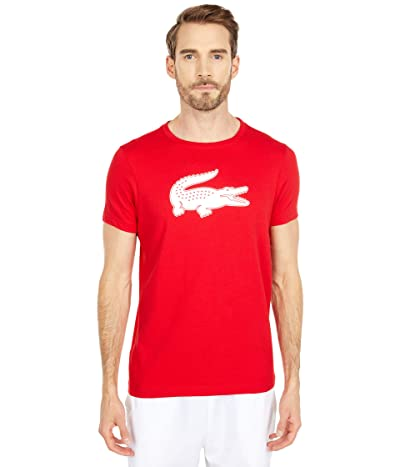 Lacoste Short Sleeve Solid Color Crocodile Logo Tee (Red/White) Men