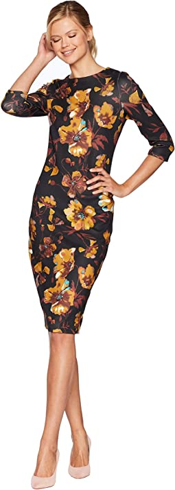 Floral Contrast Printed Scuba Midi with 3/4 Sleeves