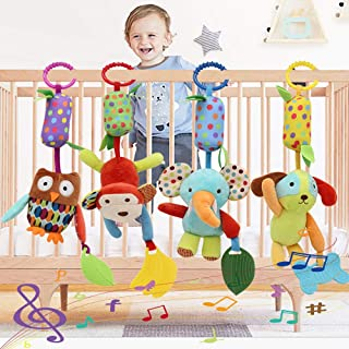 Baby Toy Soft Hanging Rattle Crinkle Squeaky Learning Toy with Teethers Plush Animal C-Clip Ring Infant Newborn Stroller Car Seat Crib Travel Activity Wind Chimes Hanging Toys for Boys Girls, 4 Pack