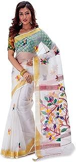 SareesofBengal Women's Handloom Muslin Silk Jamdani Dhakai Saree