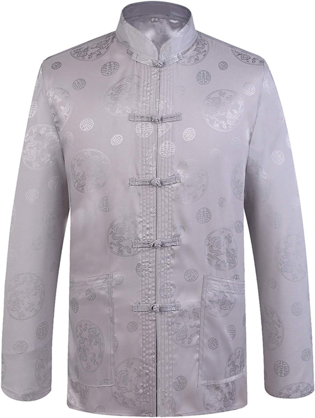 Designer Chinese Traditional Men's Satin Mandarin Collar Dragon Silk Tang Suit Clothing Kung Fu Jacket Coat (Color : C Gray, Size : XXXL 185)