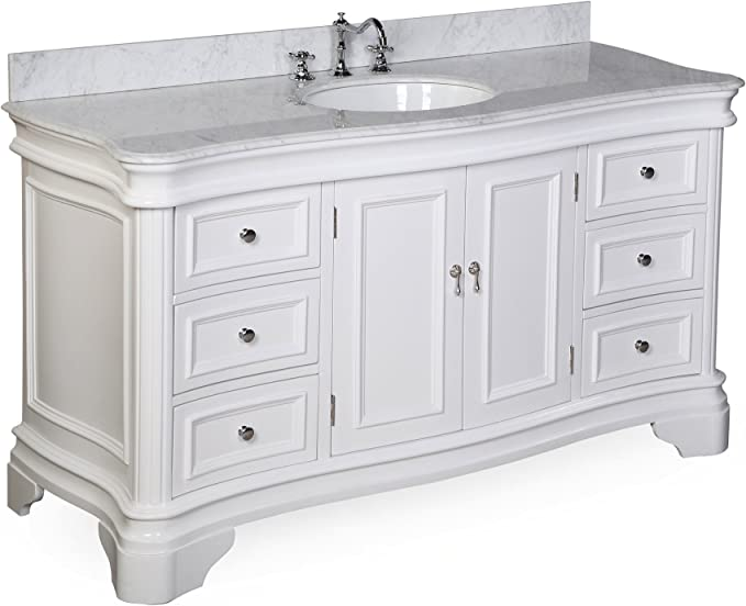 Katherine 60 Inch Single Bathroom Vanity Carrara White Includes White Cabinet With Authentic Italian Carrara Marble Countertop And White Ceramic Sink Furniture Decor