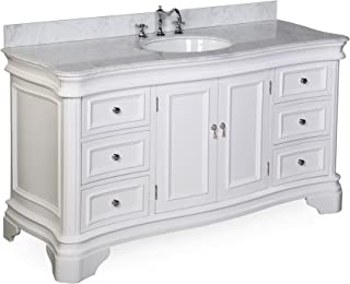 Katherine 60-inch Single Vanity (Carrara/White): Includes White Cabinet with Authentic Italian Carrara Marble Countertop and White Ceramic Sink