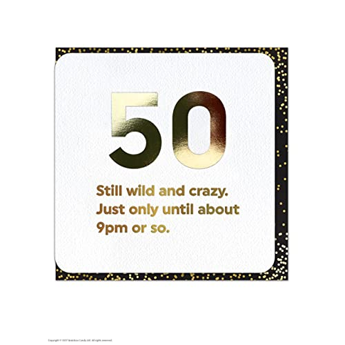 Funny Humorous 50th Birthday Gold Foiled Age Card