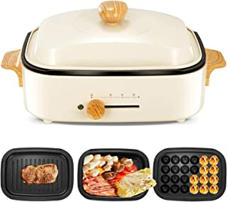 Multi-Function Barbecue Frying Pan,3-in-1 Electric Hot Pot,Heated Electric Multifunction Compact,Balls Machine Small Takoy...