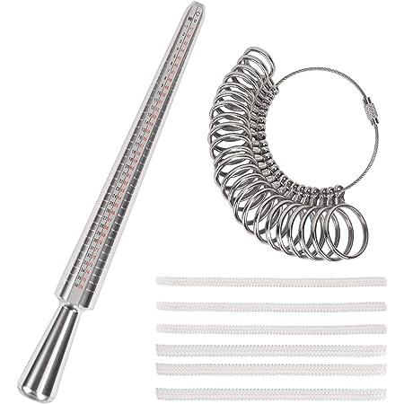 KATOOM Misuratore di Anelli in Metallo,Misuratore Anelli Dita Set di 26 Regolatori di Misura per Anelli per Misurare il Diametro Dell'anello Negozio Regalo Manuale