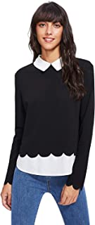 Floerns Women's Contrast Collar Hem Long Sleeve Blouse Top
