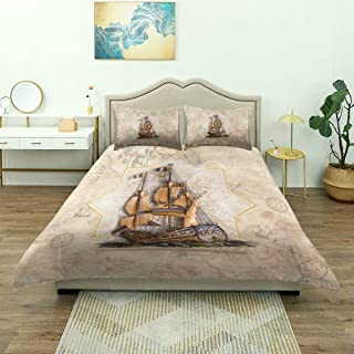 Juego de ropa de cama de 3 piezas, diseño de papel tapiz 3D Ship On Piri, juego de funda nórdica con cremallera de lujo moderno y 2 fundas de almohada El último juego de colcha de microfibra suave úni