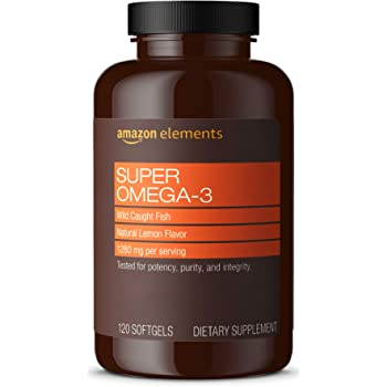 Amazon Elements Super Omega-3 with Natural Lemon Flavor - EPA & DHA Omega-3 fatty acids - 120 Softgels (1280 mg per serving, 2 Softgels) (Packaging may vary)