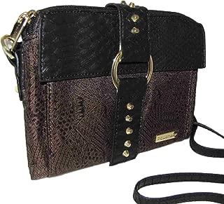 Safari Crossbody Wallet Style Handbag in Brown Jacquard - Womens