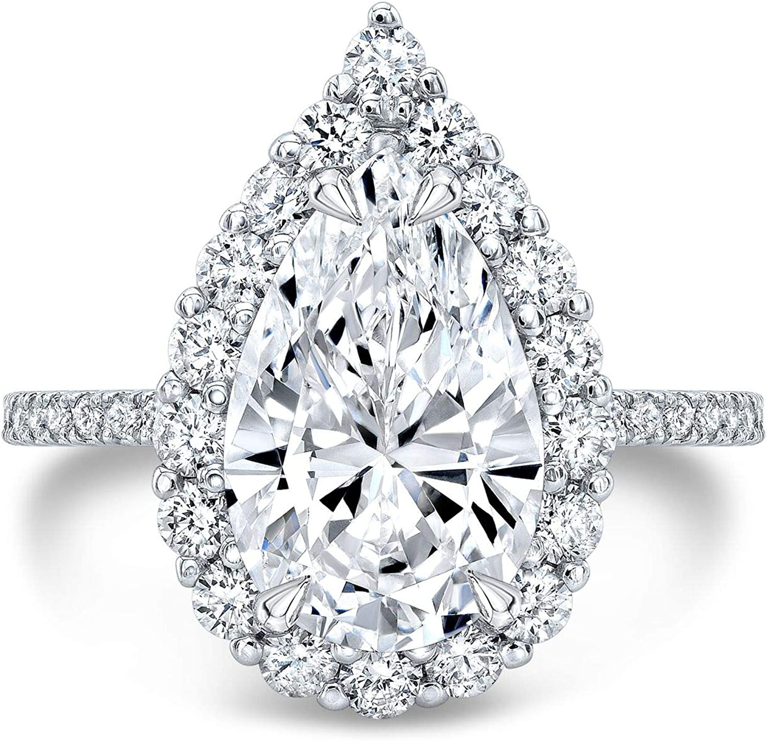 Bhumi Gems 4CT Pear Cut Wom Engagement Moissanite Colorless Soldering Ring Super popular specialty store