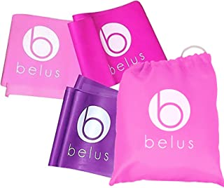 Stretching Belus Exercise Tubes with Handles by Resistance Tube Bands ~ for Workouts p90x Pilates Crossfit Fitness and More Pink and Purple with Bonus Digital Exercise Guide Training