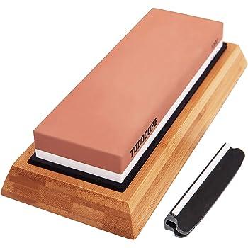 TODOCOPE Premium Whetstone, Sharpening Stone 2 Side Grit 1000/6000 Knife Sharpening Stone, Blade Knife Sharpener with Non Slip Bamboo Base & Angle Guide, Whetstone Sharpening Kit