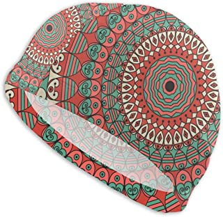 Amesage Colorful Ethnic Arabesque Ornament Patterned Background Swimming Cap Lady Swimming Cap, Personality Adult Teenager Girl Polyester Swimming Cap