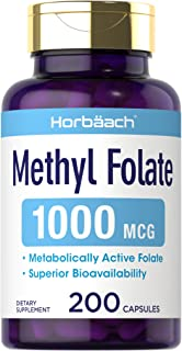 Methyl Folate 1000 mcg | 200 Capsules | 5-MTHF | Folic Acid Supplement | Non-GMO, Gluten Free Methylfolate | by Horbaach