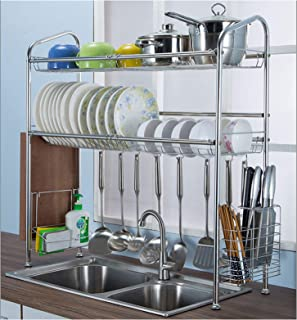 Geeaoo Dish Rack, 2 Tier Dish Drying Rack, 35 x 11 x 32.6 inch Stainless Steel Drying Storage Holder, Includes Cutting Board Holder, Chopstick Holder