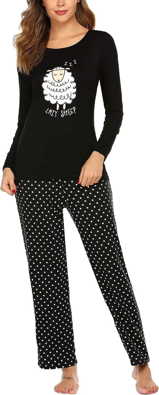 Ekouaer Women's Pajama Set Long Sleeve Sleepwear Dot Print Loungewear Two Piece Pajamas S-XXL