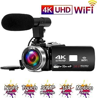 Videocamara 4K 24FPS Cámara de Video 30MP WiFi Videocamara Vlogging con Pantalla Táctil de 3.0Cámara Visión Nocturna por Infrarrojos Micrófono Externo Time-Lapse