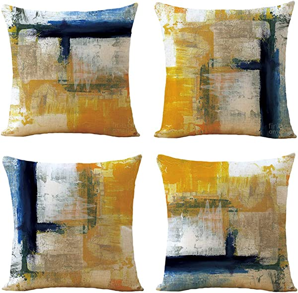 WOMHOPE Throw Pillow Covers Cases Watercolor Geometric Pillowcases Cushion Covers Decorative Throw Pillow Case Covers Canvas 18 X 18 Inch Set Of 4 Blue