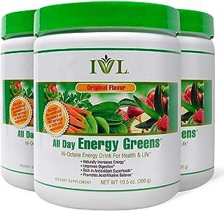 IVL Hi-Octane All Day Healthy Energy Greens Powder, 30 Servings per Canister, Original Flavor (Pack of 3)