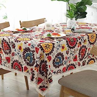 Bringsine Vintage Rectangular Cotton Linen Lace Sun Flower Tablecloth, Washable Tablecloth Dinner Picnic Table Cloth Home Decoration Assorted Size