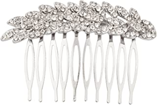 Lux Accessories Bridal Pave Leaf Crystal Hair Comb