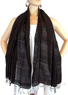 BTPx Women's Handmade 100% Thai Raw Silk Scarf Shawl Solid Fair Trade Large