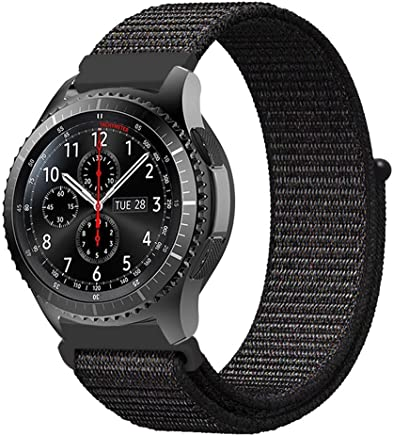 Fintie Armband kompatibel für Galaxy Watch 46mm / Gear S3 Frontier/Gear S3 Classic/Huawei Watch GT - Premium Nylon Uhrenarmband Ersatzband mit Verstellbarem Verschluss [ groß ], Schwarz